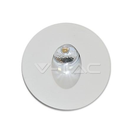 Tondo Rotondo Spot.V Tac 1208 Segnapasso 3w Spot Led Luce Scale Rotondo Corpo Bianco Bianco Naturale